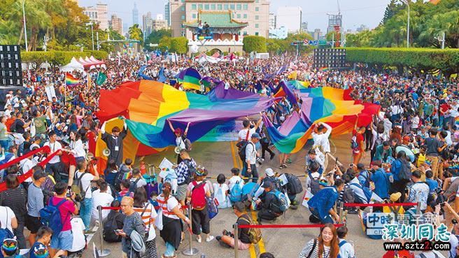 台湾:20国12.3万人 同志游行破纪录